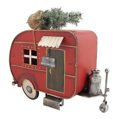 Metal Christmas Camper Miniature