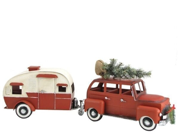 Christmas Car with Camper, Metal Miniatures