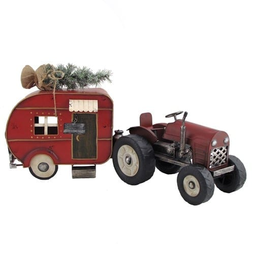 Tractor and Christmas trailer metal miniatures