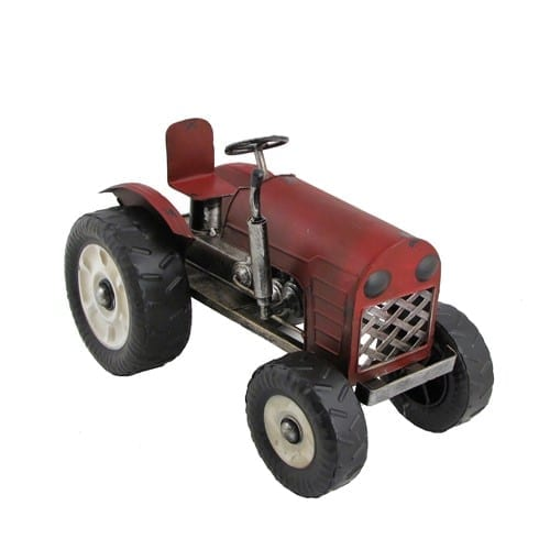 red metal tractor