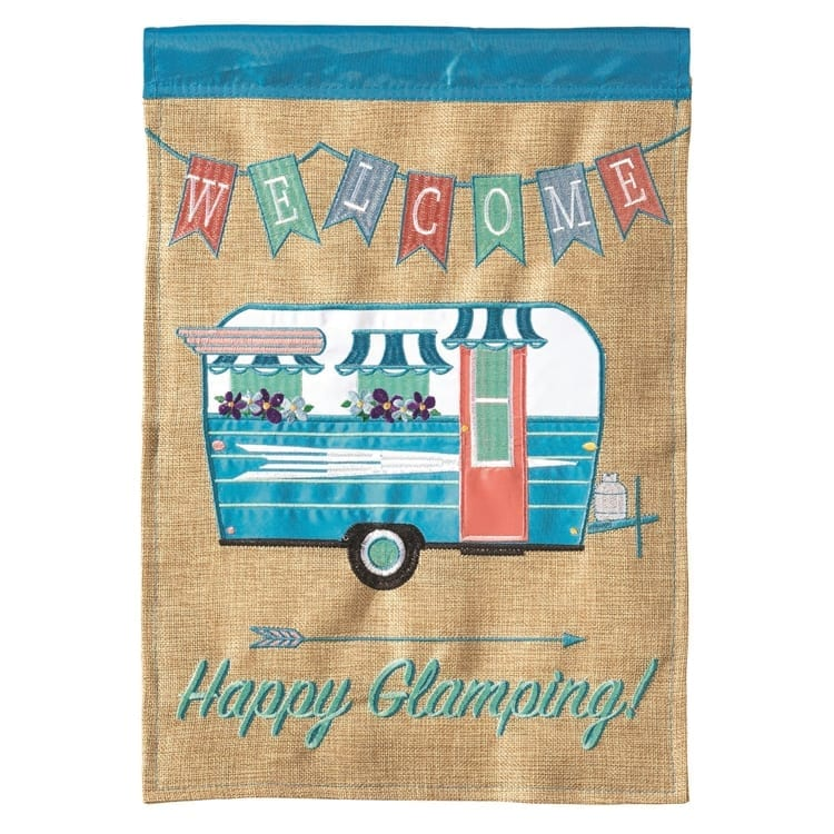 Welcome Happy Glamping Garden Flag on Burlap