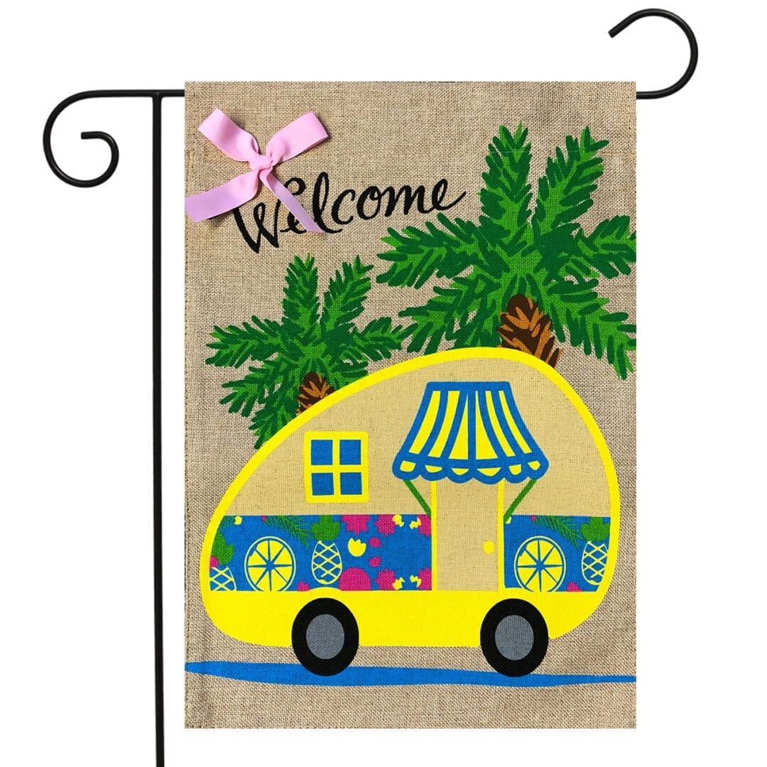Tropical camper garden flag