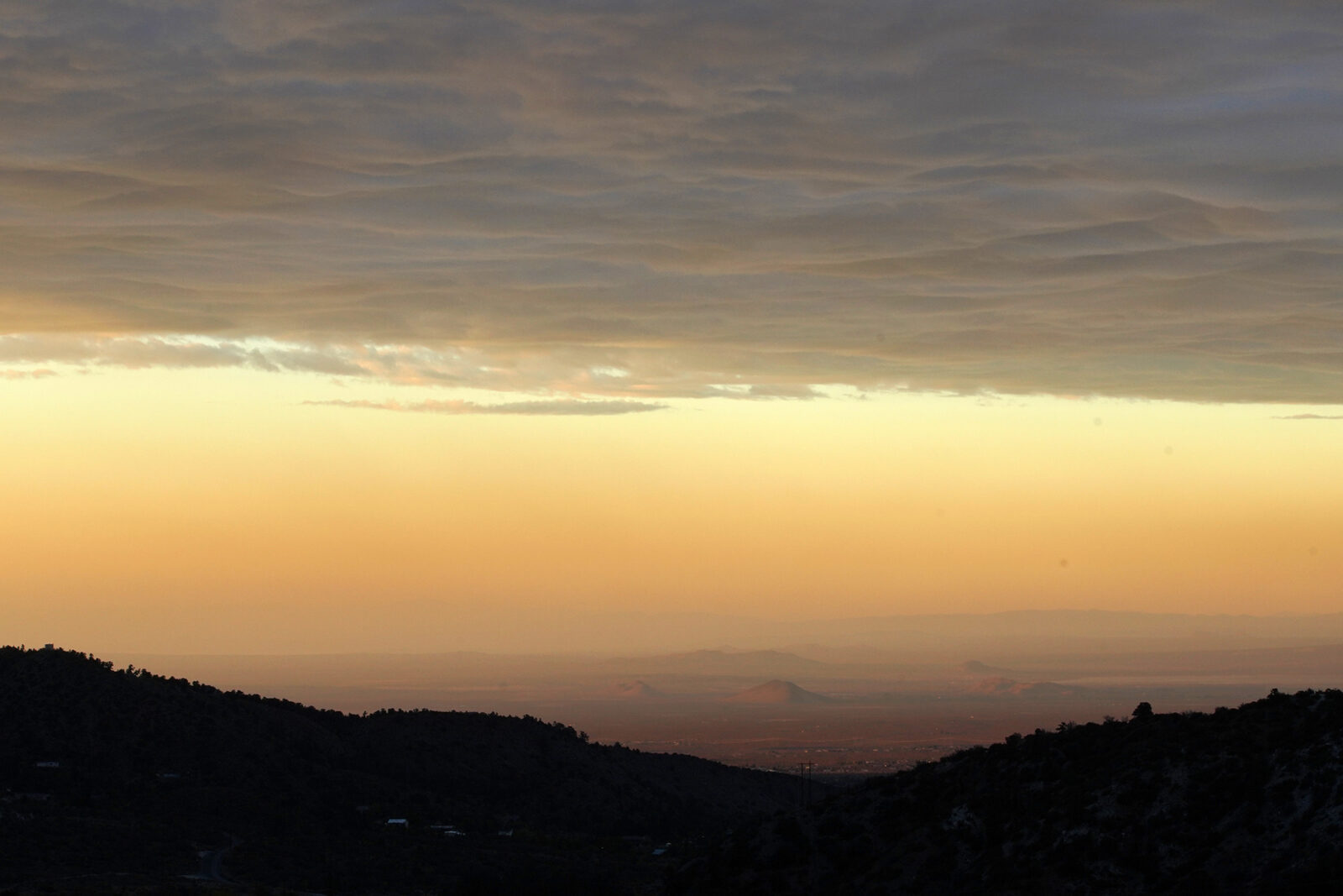 An inversion layer sweeps across the Greater Los Angeles region. It was here in the 1950s, according to a long-circulated rumor, that underwear garment manufacturers allegedly discovered the harm air pollution can cause to elastic.