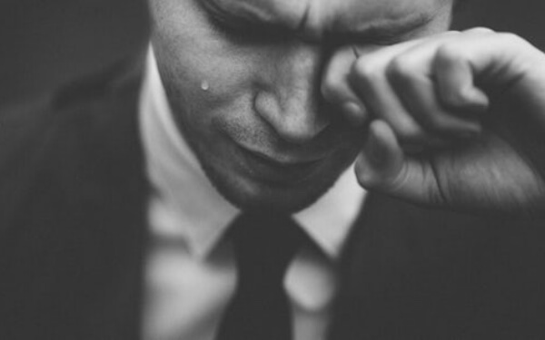 Emotional Man with Tears