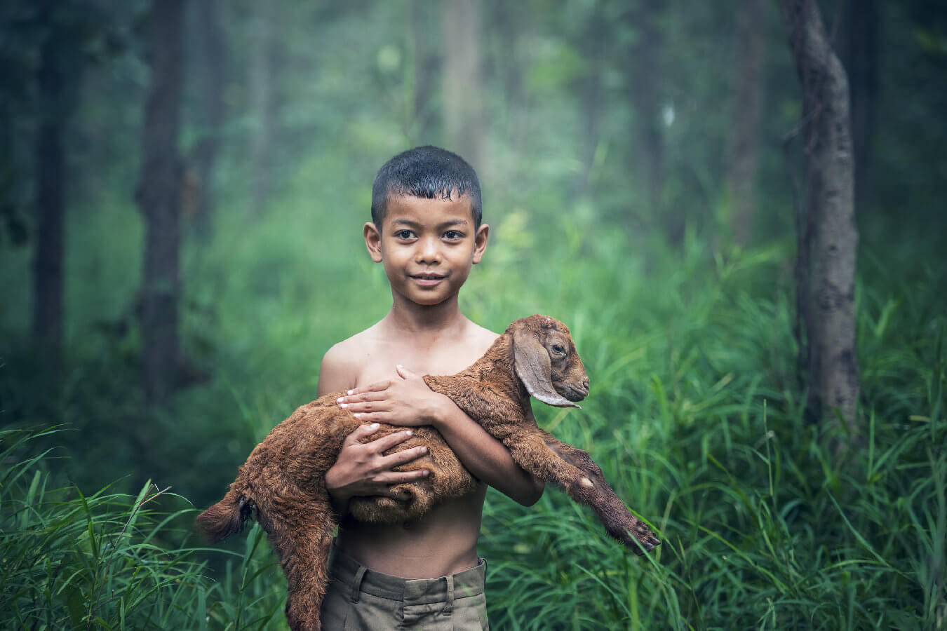 Little Boy with Lamb in His Arm