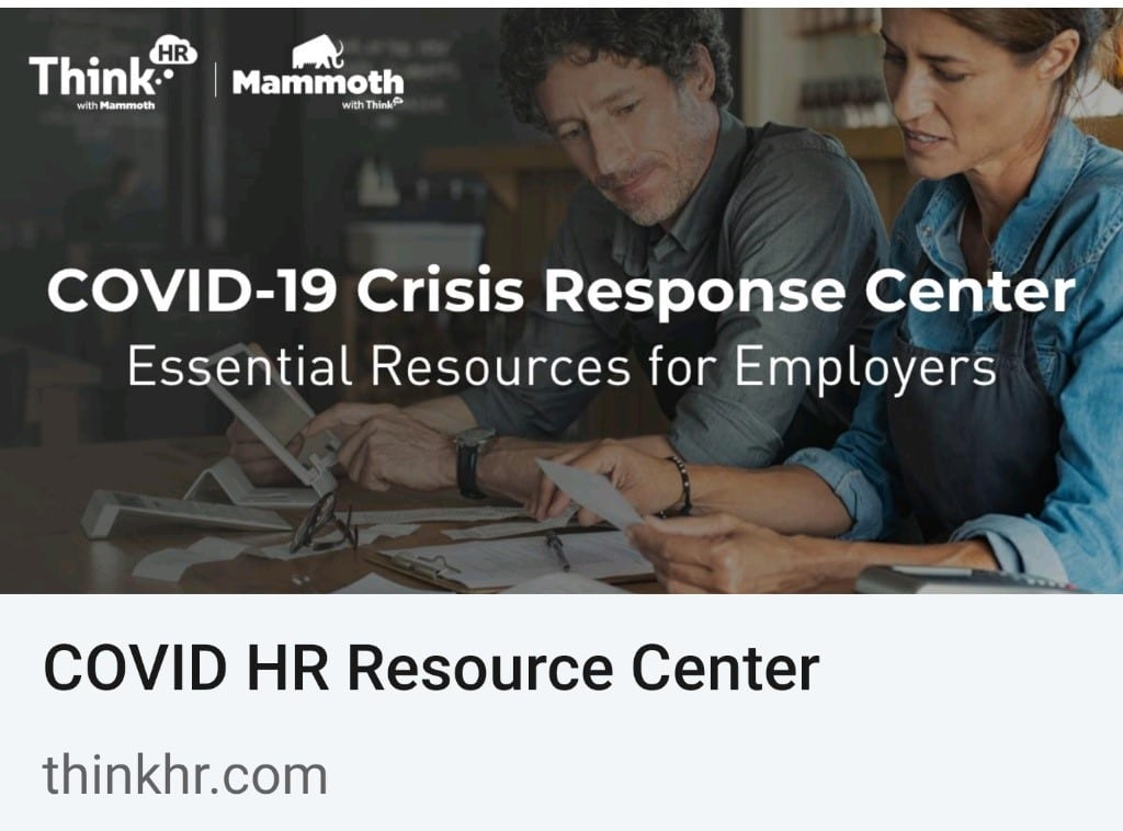 COVID-19 HR Resource Center From Mammoth And ThinkHR