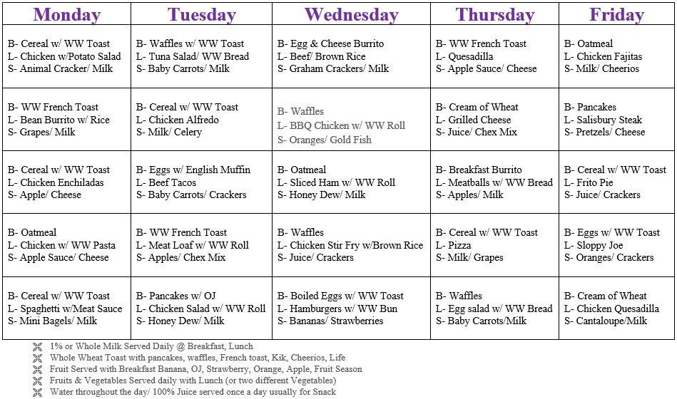 LBLC Meal Schedule