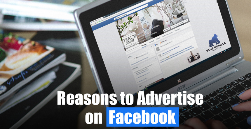 laptop sitting on desk with text Reasons to Advertise on Facebook