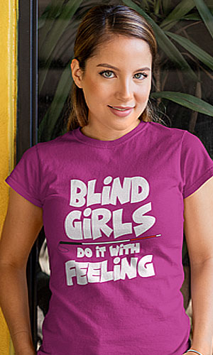 a woman in a lavender t-shirt with Blind girls do it with feeling