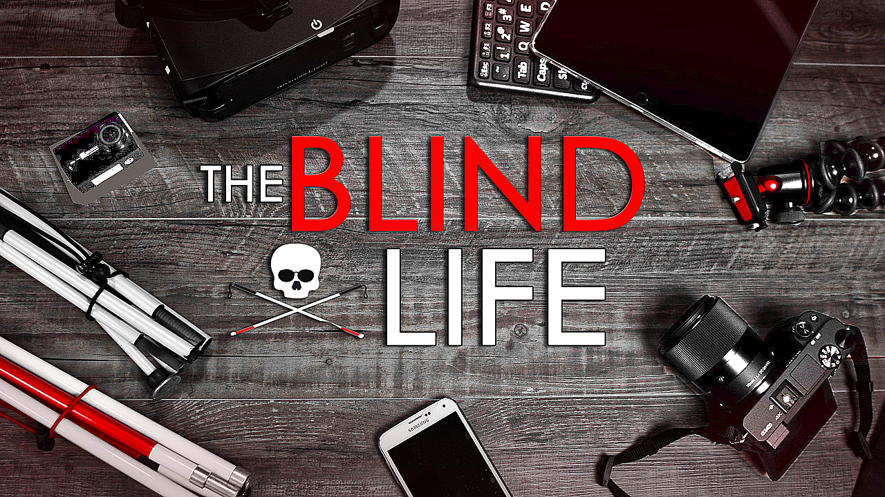 The Blind Life Logo surrounded by assistive technology devices for the Blind/VIP