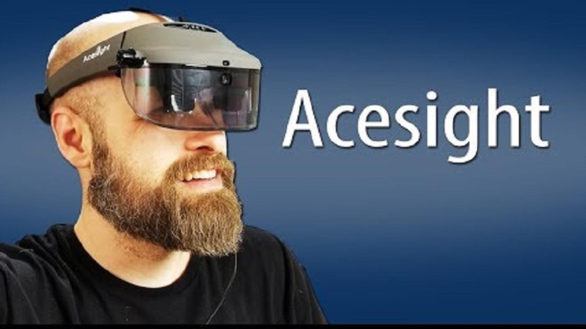 Sam wearing an Ace Sight device