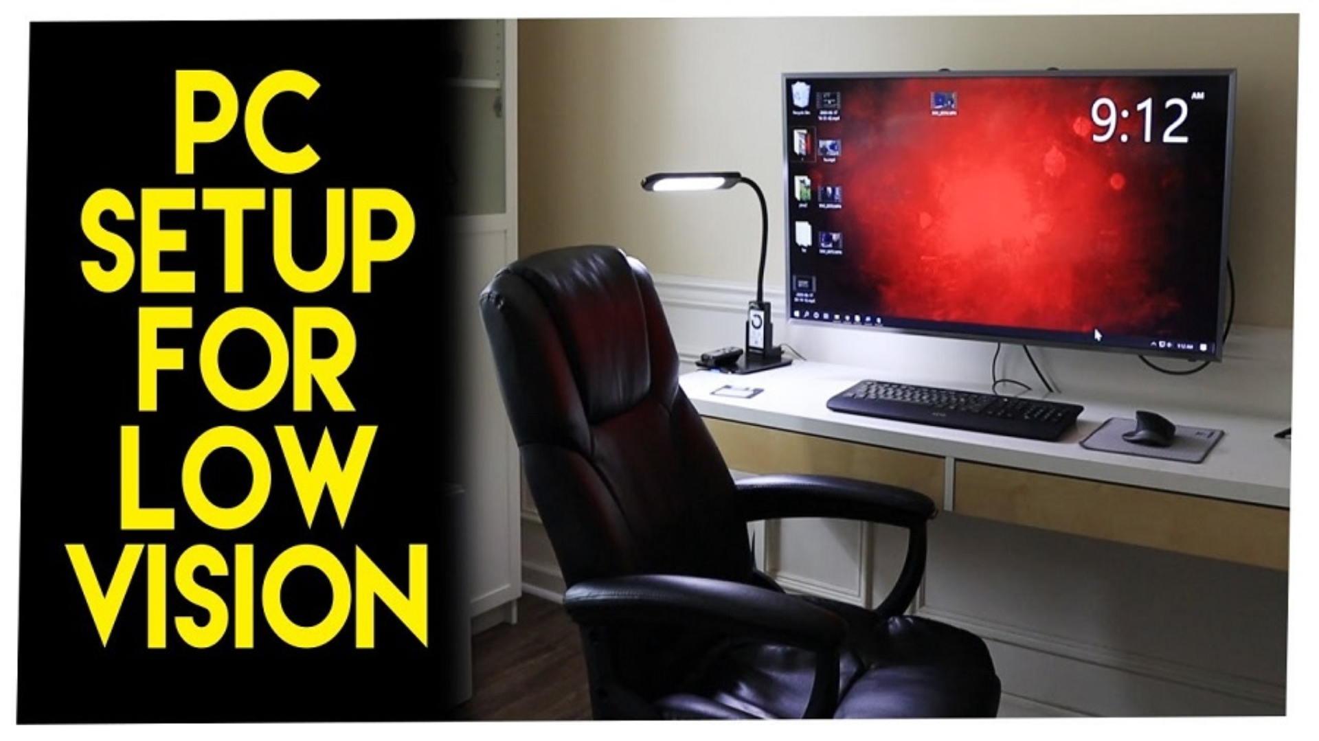 a computer on a desk with caption, PC Setup For Low Vision