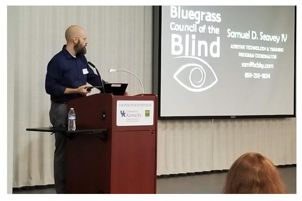 Sam Seavey doing a presentation event
