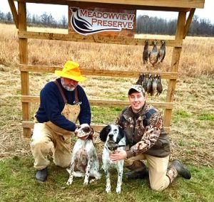Excellent Day Hunting up in MD! Here's Bill and his Girl Lucy (Lucies Burning Desire) and Tim with his Boy Beau (beauregard Beadell).