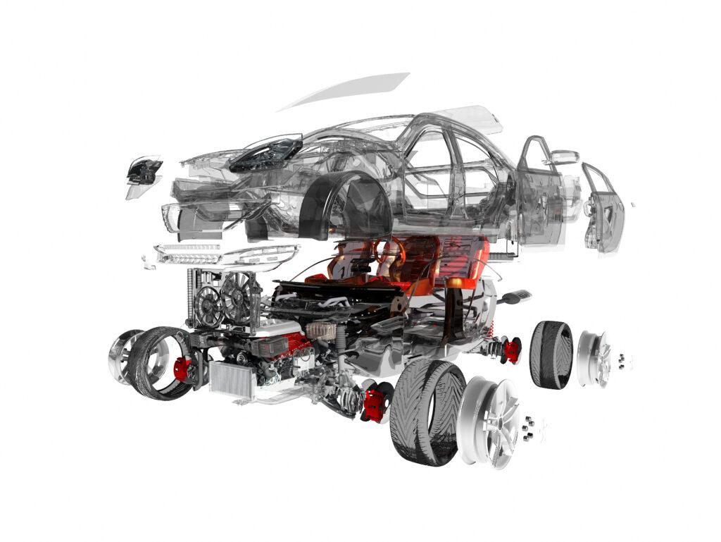 Car being assembled