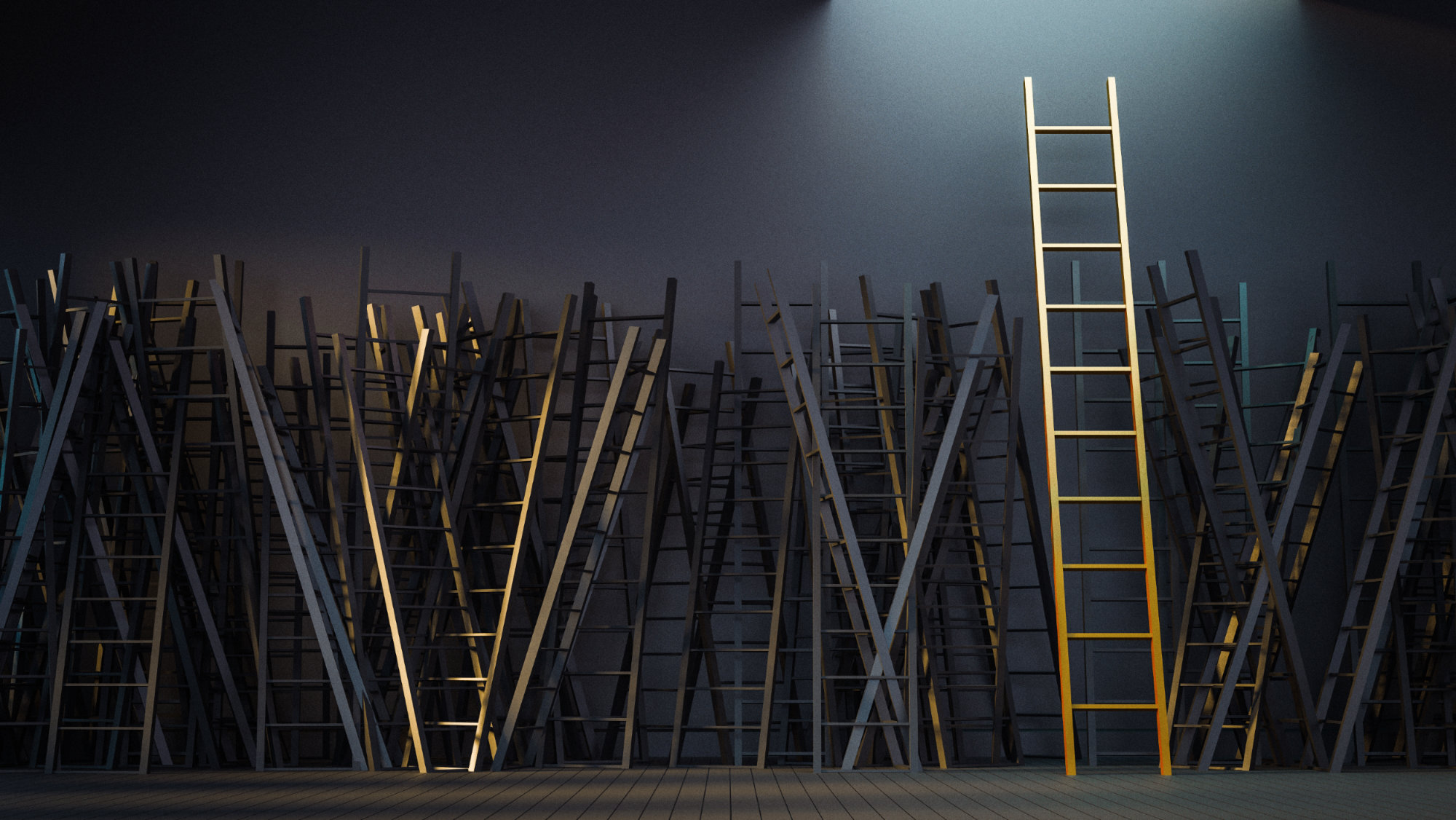 stacks of ladders against a black wall
