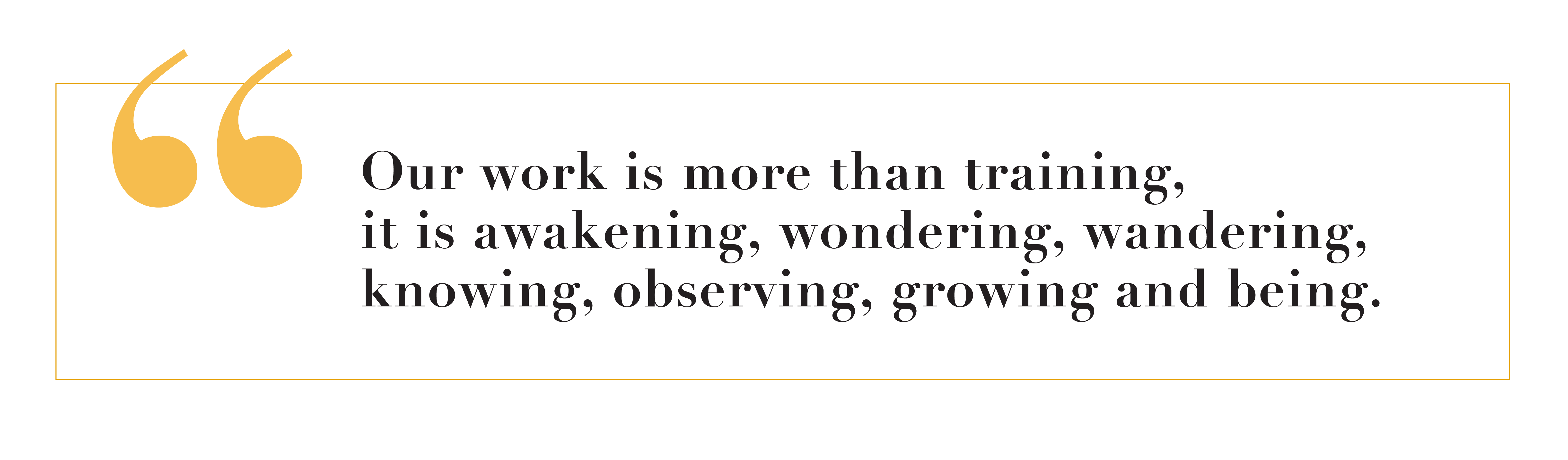 quote: 'Our work is more than training, it is awakening, wondering, wandering, knowing, observing, growing and being.'