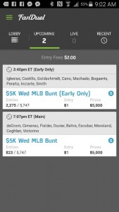 My early and night game line ups.