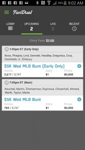 My early and late Fanduel Line up.