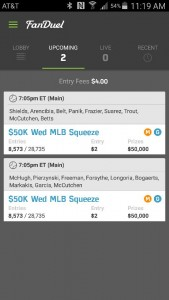 My Fanduel Line ups for today.
