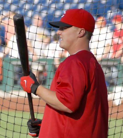 Jay Bruce flexes his muscles in the Cactus League.