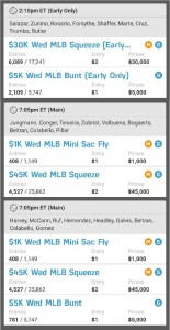 Here my line ups I will be using at Fanduel today.
