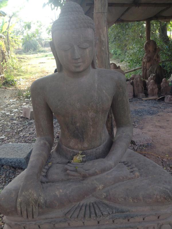 Buddhist carving atelier near Lalitnagiri temple site, Orissa India. Carvings are of diorite granite, very hard stone.