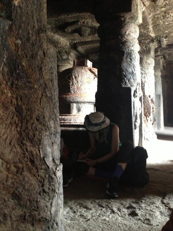 Rock-carved cave meditation hall or chaitya near Sankaram