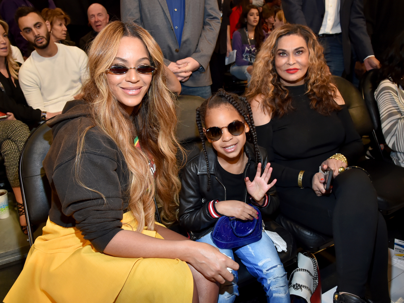 Tina Knowles Lawson with daughter Beyoncé and granddaughter Blue Ivy
