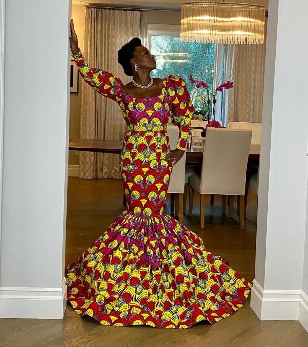 Viola Davis' Stunning African print Dress for the 2021 Golden Globes