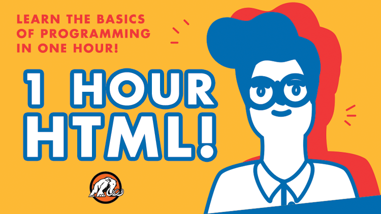 1 Hour HTML Course Cover Image with Student