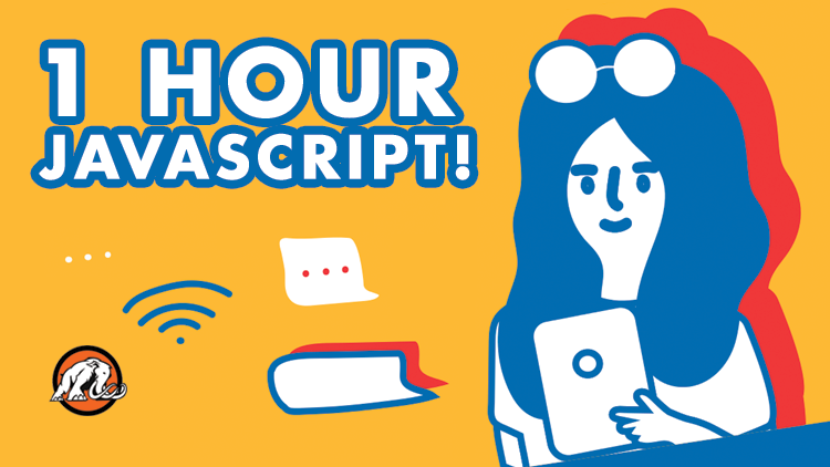 1 Hour JavaScript Course Cover Image with Student Developer Texting
