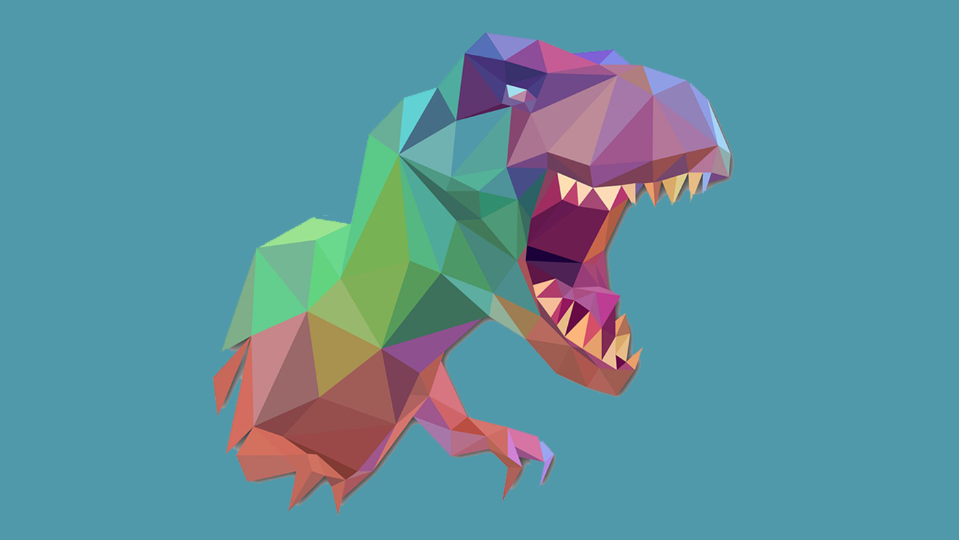 Colorful Low Poly Dinosaur Graphic