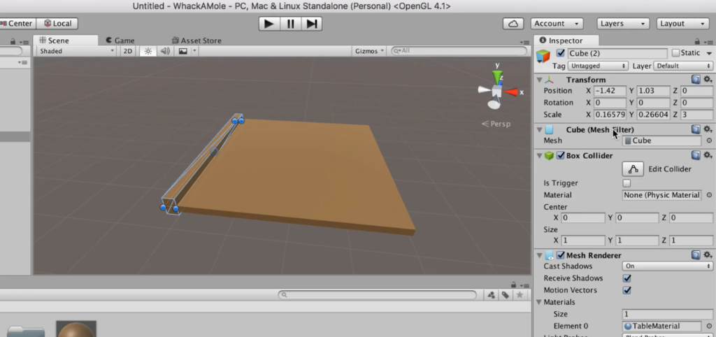 Making a Game Table in Unity