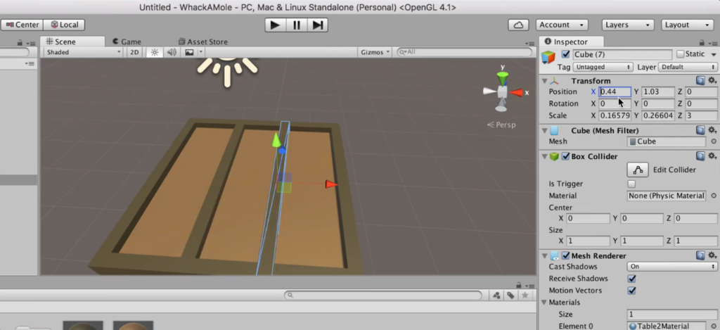 Making a Table in Unity