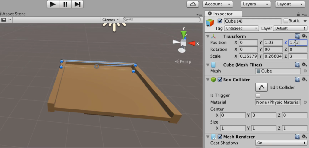 Making a Table with Edges in Unity