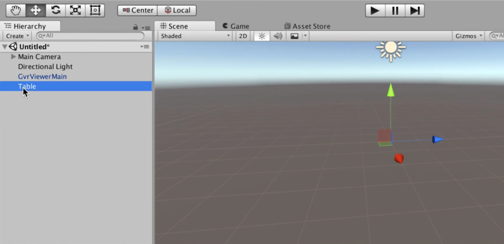 Table Object in Unity