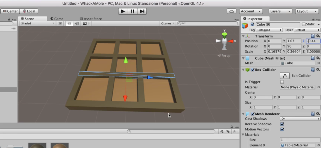 Table with 9 Sections in Unity