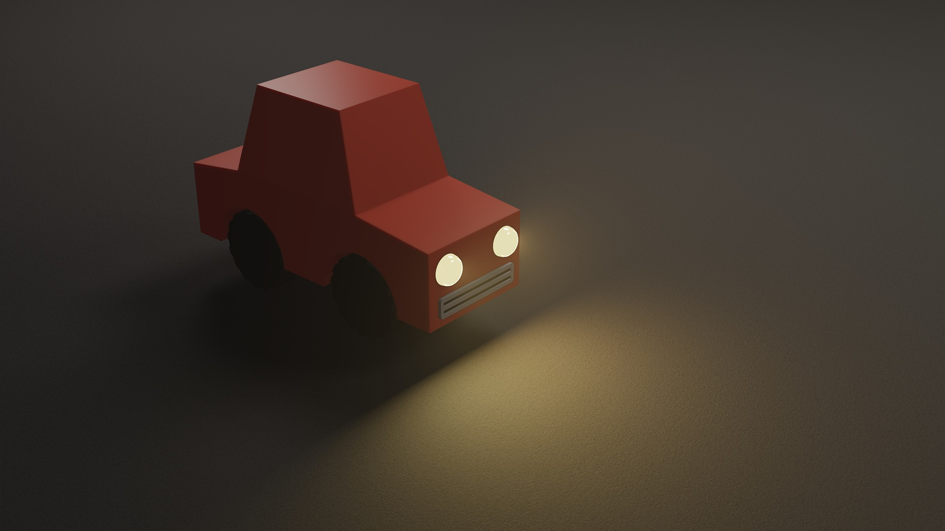 a 3d low poly car with headlights on in the night