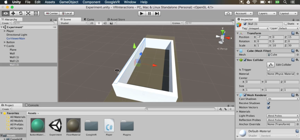 a box and playing arena in unity