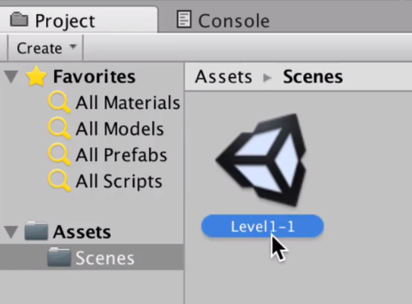 a default first level in the unity scenes folder