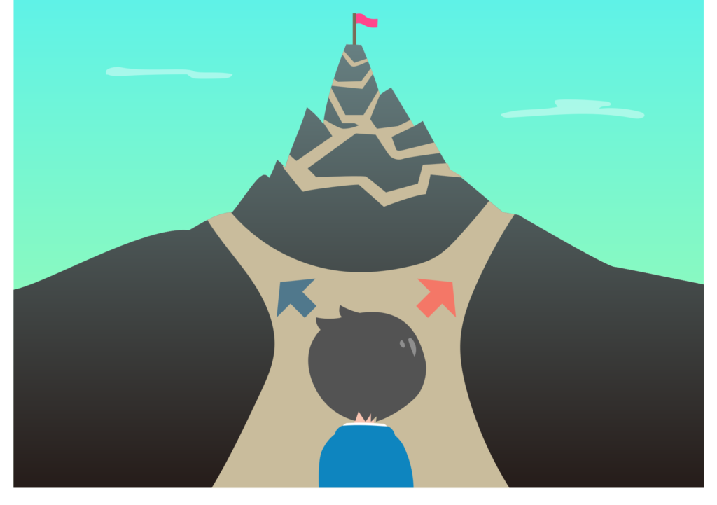 Graphic of a Person at the Bottom of a Mountain with 2 Paths
