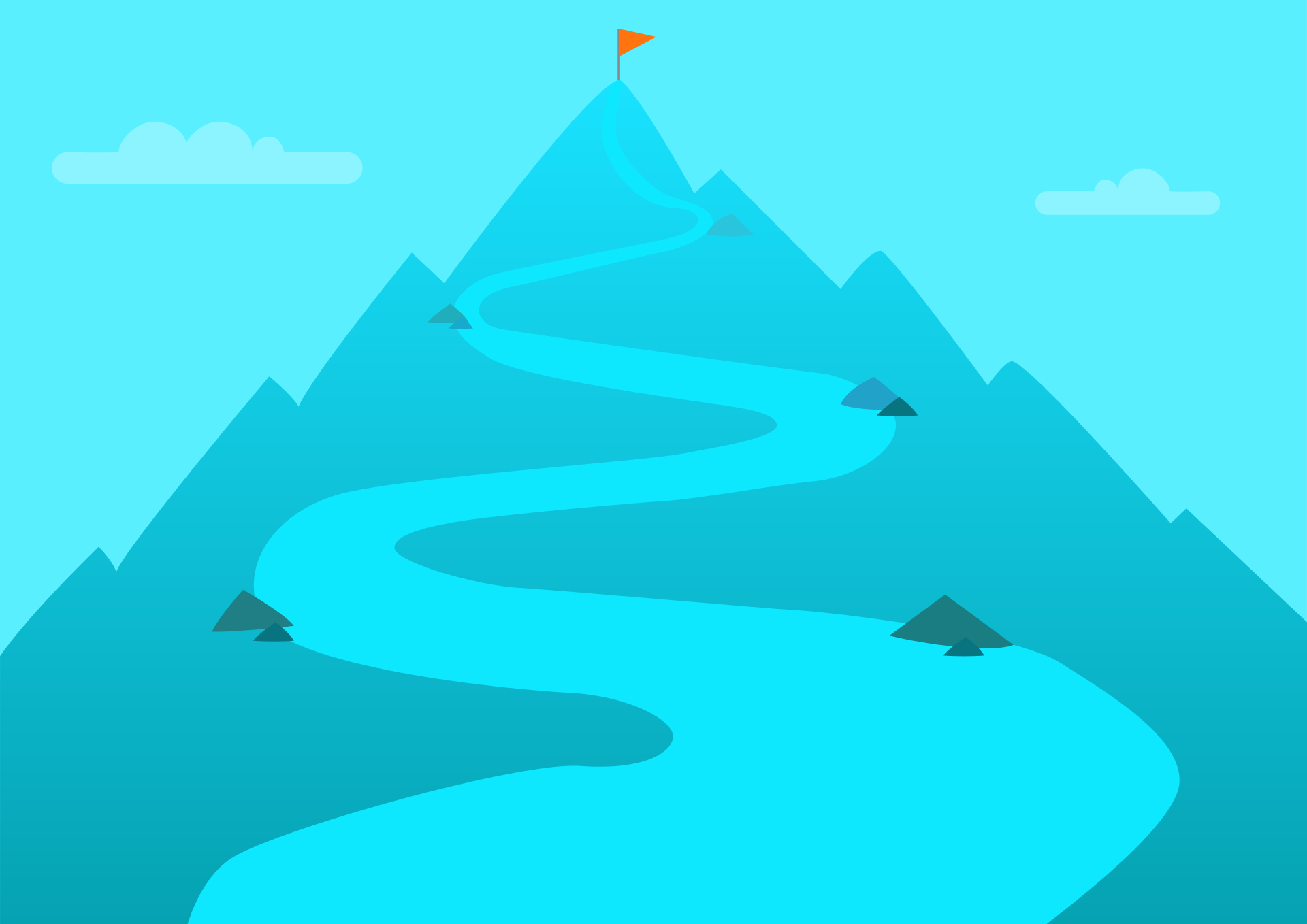 mountain illustration with a flag at the peak