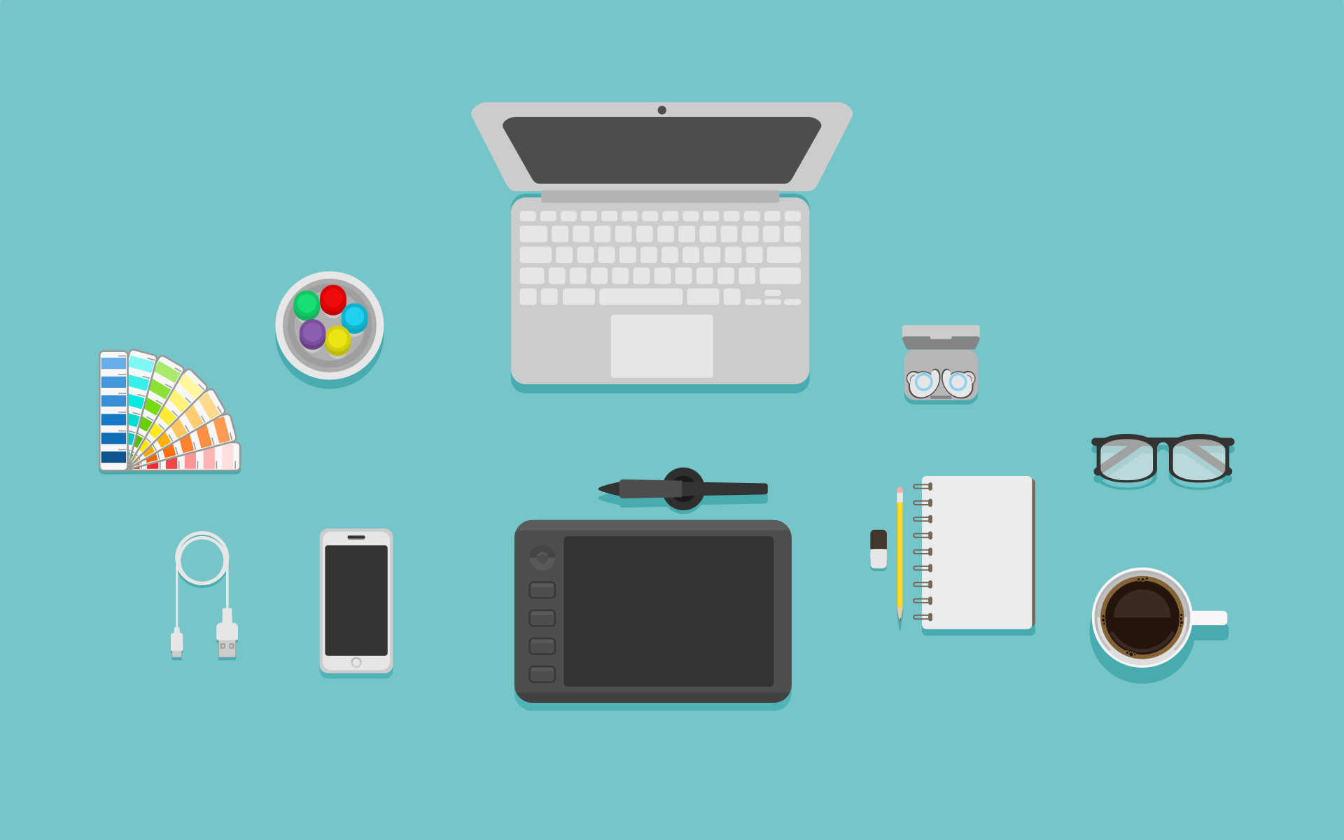 icons of a laptop, glasses and design tools