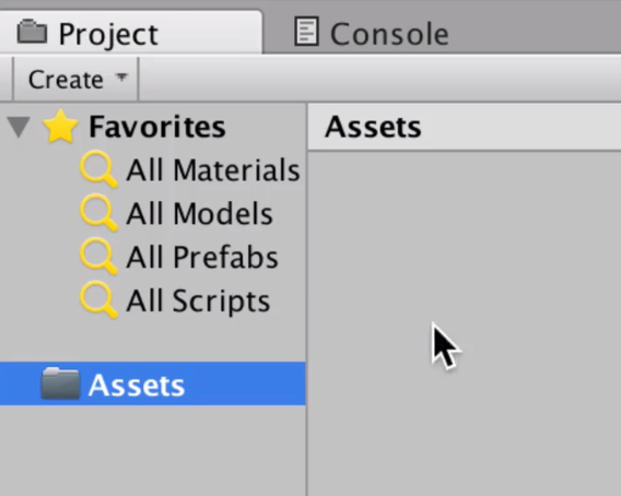 highlighting the assets folder in the project window in unity