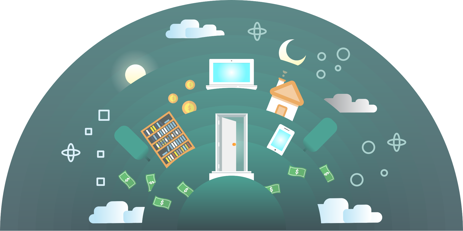 graphic of door house money bookshelf and more icons