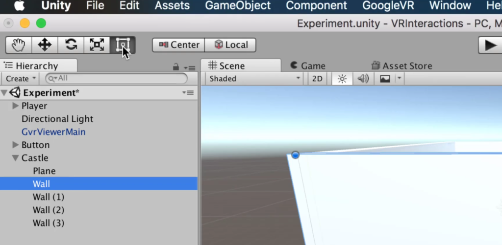location of the resizing tool in the unity editor