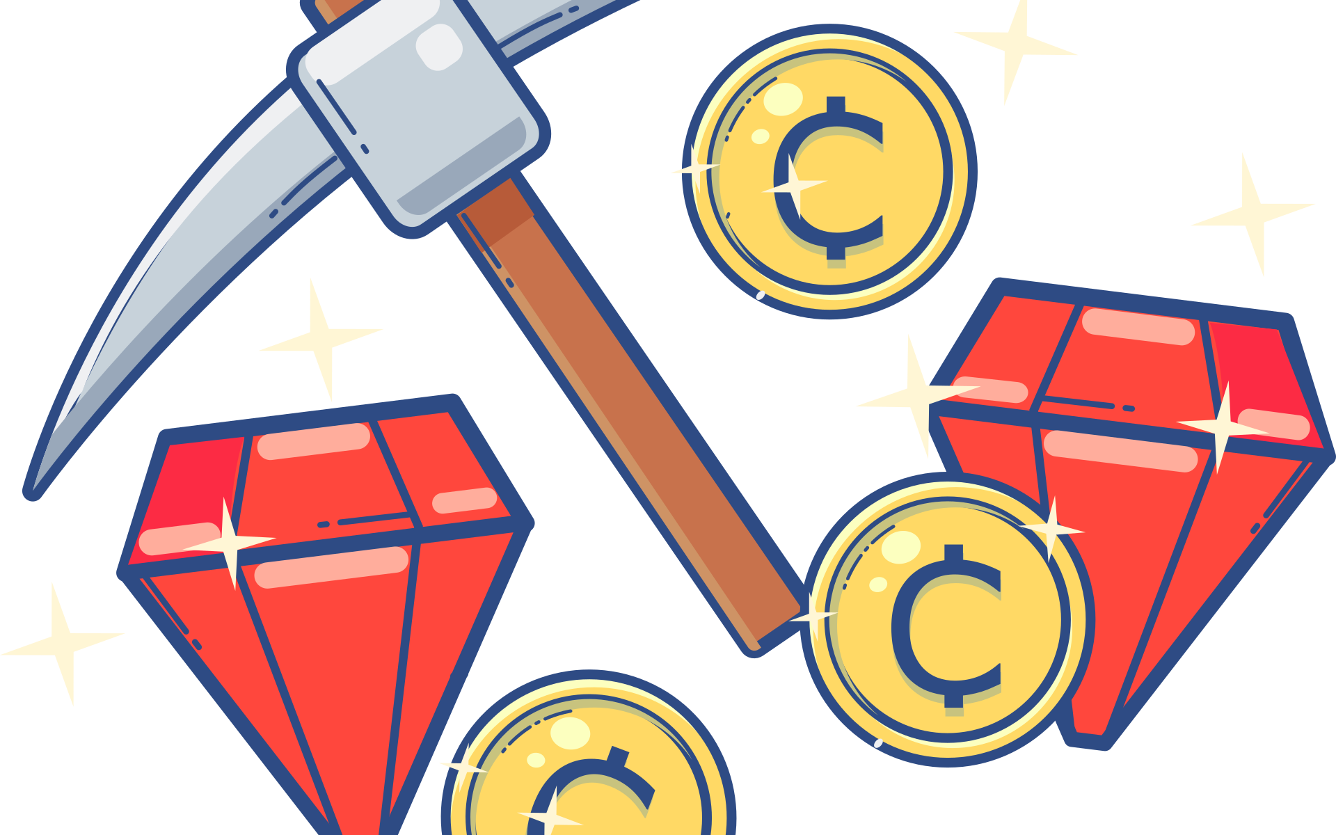 mining hammer with ruby and coins