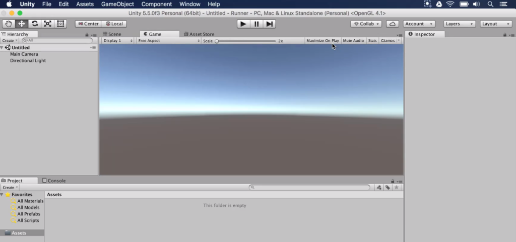 new default unity project
