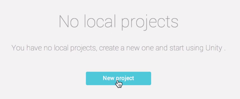new unity project button